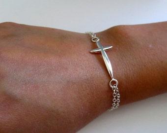 Sterling Silver Sideways Cross Bracelet/Silver Cross Bracelet/Cross Jewelry/Faith Bracelet/Faith Jewelry/Christian Jewelry/Confirmation Gift