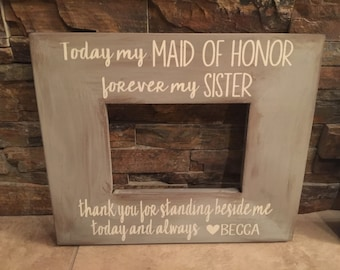 Maid/Matron Of Honor Rustic Wooden Wedding Frame