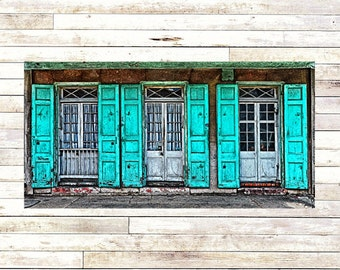 TURQUOISE SHUTTERS New Orleans Art - French Quarter Doors - Architecture - Door Photography - Creole Cottage - Wood Panel - Art Panels