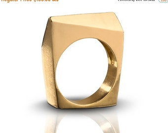 20% OFF Architectural Diagonal Shaped 14K Gold Nugget Ring, Geometric Statement Minimist Ring - Handmade Product
