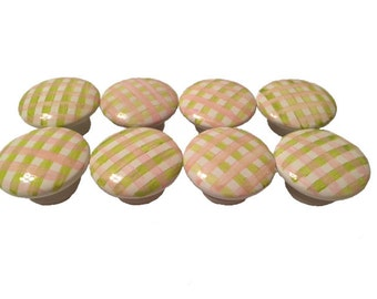 Custom Girls Pink & Lime Green Gingham Hand Painted Drawer Pulls Knobs