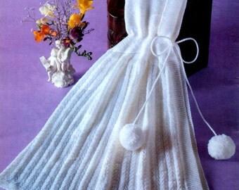 Vintage Knitting Pattern  Baby Carrying Cape  Christening Baptism  Wrap Shawl  PDF