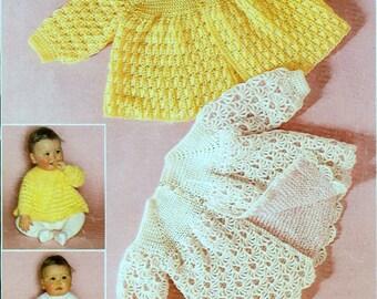 b61bc1532f41 3ply Baby Knitting Pattern - Matinee Coat