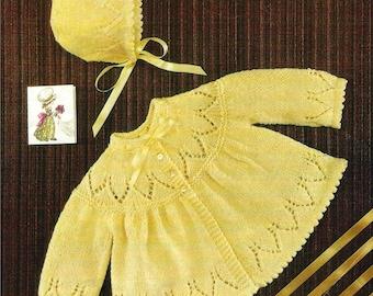 Vintage Knitting Pattern  Baby Matinee Coat and Bonnet   Jacket Cardigan  Angel Top  Yoke Detail PDF