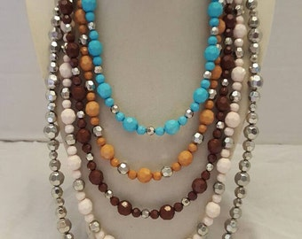 Multicolored Necklace Multicolored Layered Necklace Bib Necklace Statement Necklace One Of A Kind Necklace SByourself Necklace Women's Gift