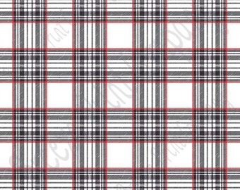 White, red and black tartan plaid craft  vinyl sheet - HTV or Adhesive Vinyl -  Valentine's Day HTV1816