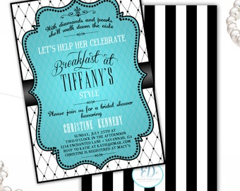 Breakfast at Tiffanys Bridal Shower Invitation, Tiffany Shower - Custom Bridal Shower Invite - DIGITAL -  DIY Printable Invitation