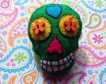 Day of the Dead Skull Brooch, Dia de los Muertos Brooch, Mexican Sugar Skull Brooch, Statement Brooch