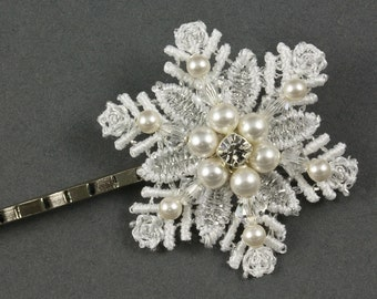 Pearl Lace Snowflake Hair Grip | Pearl Hair Accessories | Lace Wedding Hair Accessories |  Pearl Hair Grip | Winter Snowflake Wedding