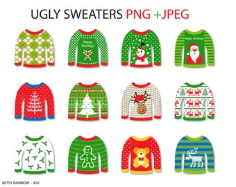 Ugly sweater cliparts PNG, christmas clipart, ugly sweater clip art - BR 450