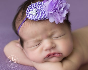 Purple headband, lavender headband, dark purple, bright headband, newborn photo prop, newborn photos, baby headband, newborn headband