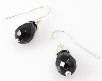 Smokey Quartz Drop Earrings, Sterling Silver with Faceted Stone, Gifts for her