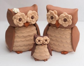 Fondant owl cake toppers - See shipping section below for turnaround time