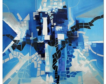 "Abstract Oil-painting, Original Art by BO The Artmakers : ""BLUE ENIGMA"", Gallery of modern & contemporary  Art"