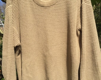 Men's LL Bean 100% cotton beige pullover sweater long sleeve waffle pattern size Large