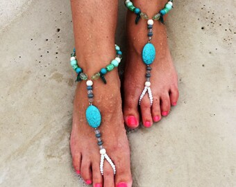 Turquoise Beaded Barefoot Sandals