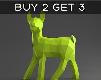 Fawn - Deer Cub - 3D papercraft model. Downloadable DIY template