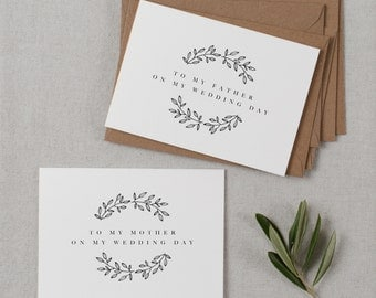Wedding Card To My Mother + Father Wedding Day, To My Parents Wedding Card, To My Mom, To My Dad, Parents Wedding Thank You Card 2 Cards, K9