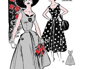 sewing pattern vintage, summer dress 1955
