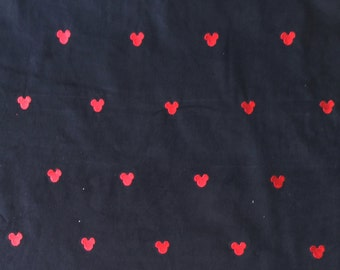 Black Corduroy Fabric with Embroidered Mickey Mouse Heads | cotton fabric | quilting fabric | Disney fabric | sewing fabric