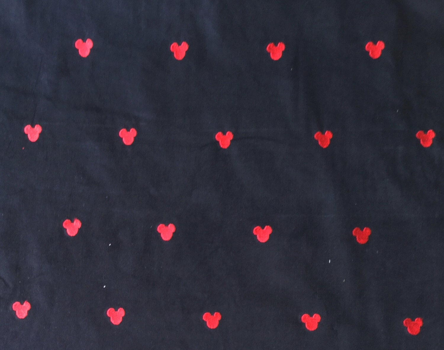 Black Corduroy Fabric with Embroidered Mickey Mouse Heads