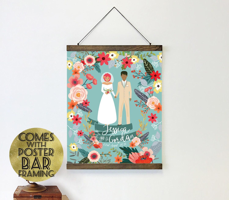 Unique wedding gift - Wedding gift ideas - Gift for her - Poster hanger - Wedding illustration - Wedding portrait - Couple portrait