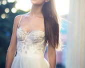 Ivory and gray A line wedding dress, lace and tulle wedding gown, tulle bridal gown, sweetheart neckline, lace appliques bodice dress // Ivy