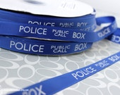 "Doctor Who Police Box 5/8"" Grosgrain Ribbon TARDIS Craft Supply Larger Print"