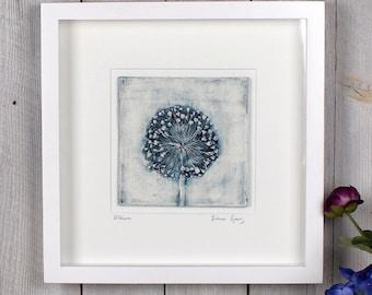 Allium plaster cast tile, framed, limited edition, botanical art, flower art, gifts for her, gifts for home, gifts for gardeners