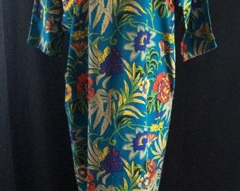 Vintage 80's Floral Linen Caftan w Pockets in