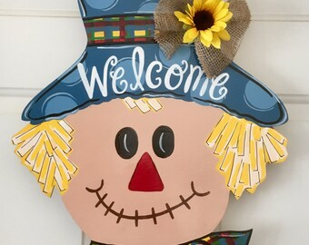 Scarecrow Door Hanger, Fall Door Hanger, Custom Door Hanger, Fall Home Decor