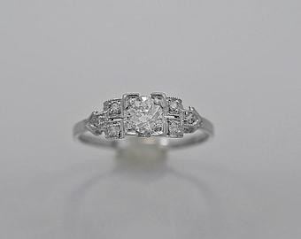 Antique Engagement Ring Setting .35ct & Platinum Art Deco - J35520