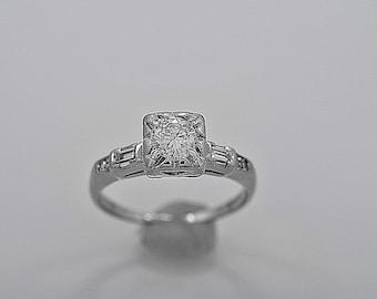 Antique Engagement Ring .46ct. Diamond & Platinum Art Deco - J35613