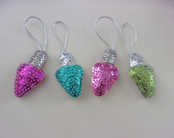 """Set of 4 Handmade Felt and Sequin CHRISTMAS LIGHT Ornaments Approx 2""""wx 3""""h"""