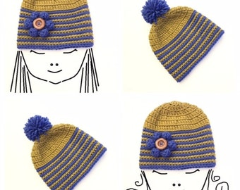 Crochet Patterns * SIDNEY BEANIE HAT * Instant Download Pattern # 514 * baby toddler child teen adult big adult sizes * easy * unisex * pdf
