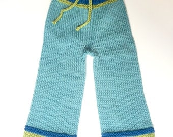 Hand knit 100% wool longies, size small/medium