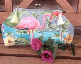 Flamingo bag. Pinks and blue. Tropical! Exotic ! Fun.