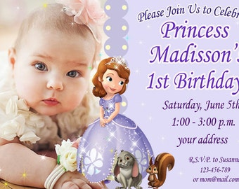 SALE, Sophia the first Birthday Invitation, princess sophia birthday invitation, Sofia the first birthday invitation - Digital file