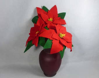 Red Felt Poinsettia Bouquet Made-To=Order- Artificial Christmas Flower on a Stem - Felt Flower - Artificial Poinsettia - Fake Poinsettia