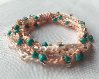 Beachy Beaded Crochet Bracelet // Turquoise Beaded Wrap Bracelet // Peach Friendship Bracelet