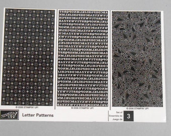 Stampin Up Letter Patterns - set of 3 rubber stamps new and unmounted background stamps