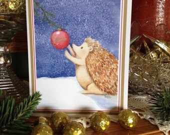 Hedgehog Christmas card, set of 4