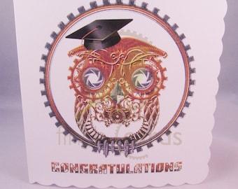 Cute Steampunk Owl Graduation Card, Congratulations Blank Card, Owl Card, UK