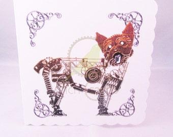 Steampunk Yorkshire Terrier Dog Blank Card, Dog Card, Terrier Card, Steampunk Card, UK