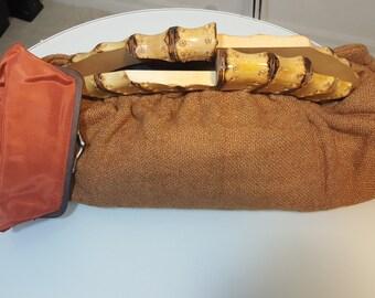 FREE  SHIPPING  Vintage Wood Frame Handbag
