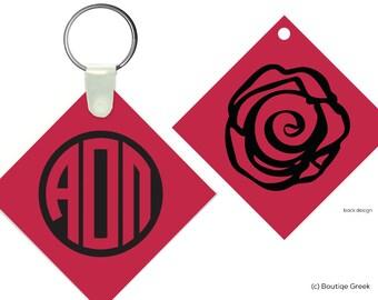 AOII Alpha Omicron Pi Rose Monogram Keychain Sorority
