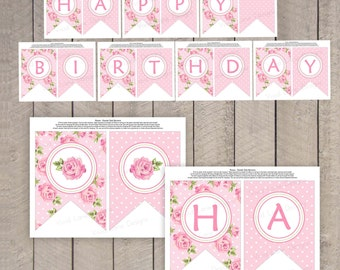 Roses Happy Birthday Banner, Girl Birthday, Printable, Pennant Banner, Flag Banner, Instant Download, As Is - 5033