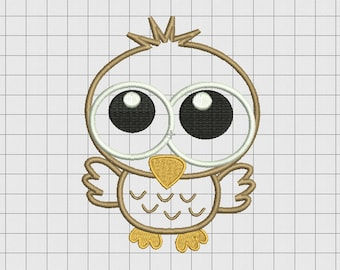 Baby Owl Applique Embroidery Design in 4x4 5x5 and 6x6 Sizes