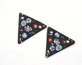 Black Boho Fun Triangles Copper Earring Beads Hand Painted,Copper Components ,Copper Beads ,Handmade