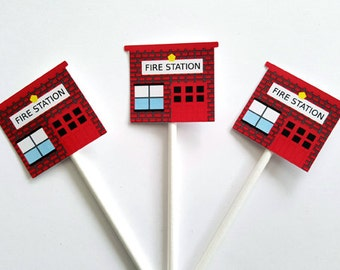 Fire Station Cupcake Toppers, Firetruck Cupcake Toppers, Fireman Cupcake Toppers